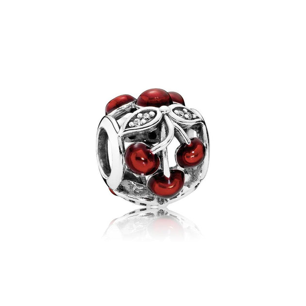 Charm Sweet Cherries with Transparent Glossy Red Enamel and Clear Cubic Zirconia