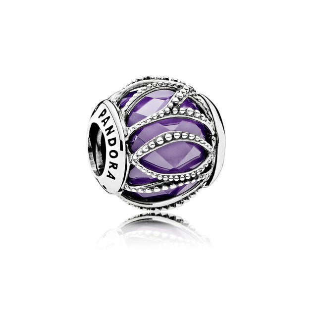 Charm Intertwining Radiance with Encased Faceted Purple Cubic Zirconia