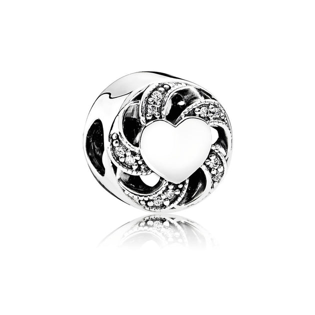Charm Ribbon Heart with Clear Cubic Zirconia