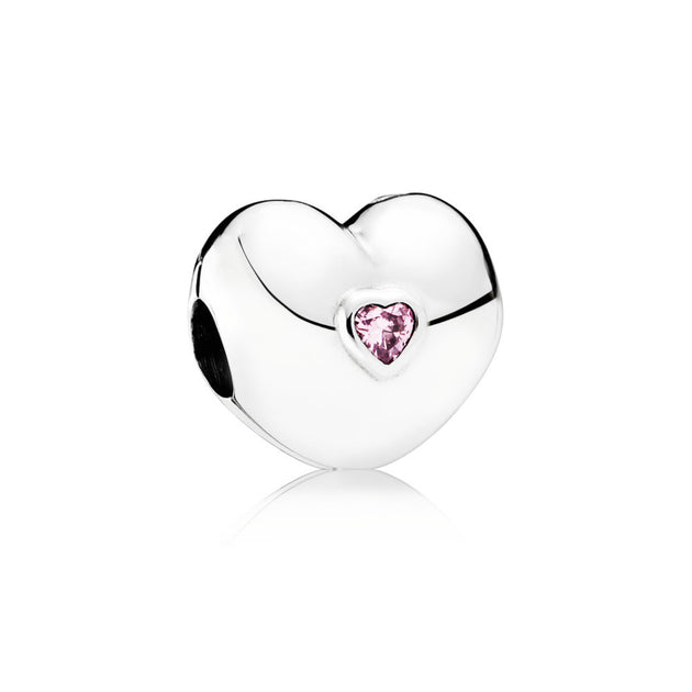 Clip Pink Steady Heart with Heart Shaped Pink Cubic Zirconia