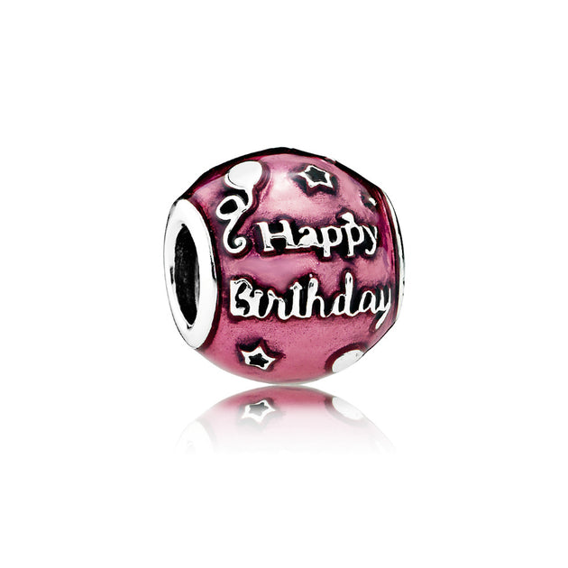 "Charm Birthday Celebration with ""Happy Birthday to You"" script and Transparent Cerise Enamel"