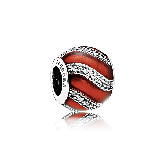 Charm Adornment with Translucent Red Enamel and Clear Cubic Zirconia