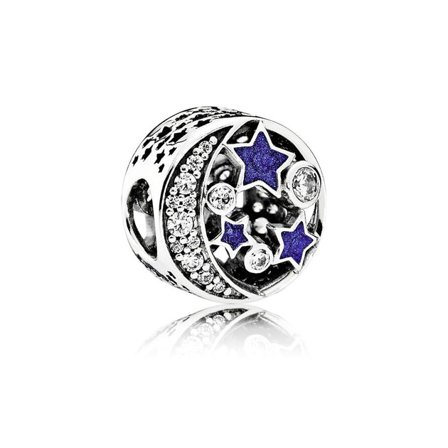Charm Vintage Night Sky with Shimmering Midnight Blue Enamel and Clear Cubic Zirconia