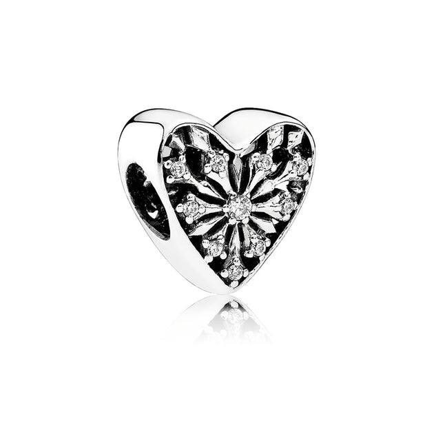 Charm Heart of Winter with Clear Cubic Zirconia