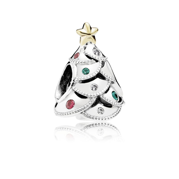 Charm Festive Tree with 14K Gold and Red, Green, and Clear Cubic Zirconia