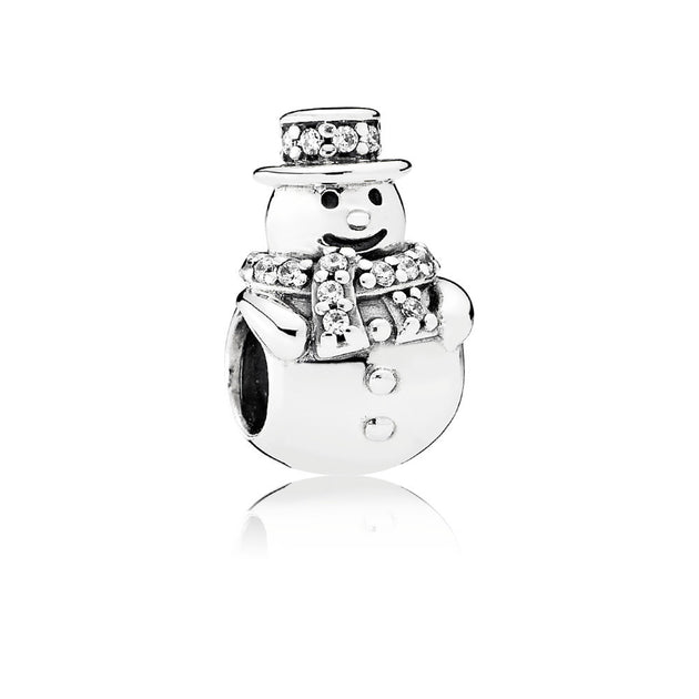 Charm Snowman with Clear Cubic Zirconia
