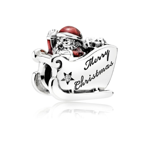 "Charm Sleighing Santa with Translucent Classic Red Enamel and Engraving ""Merry Christmas"""