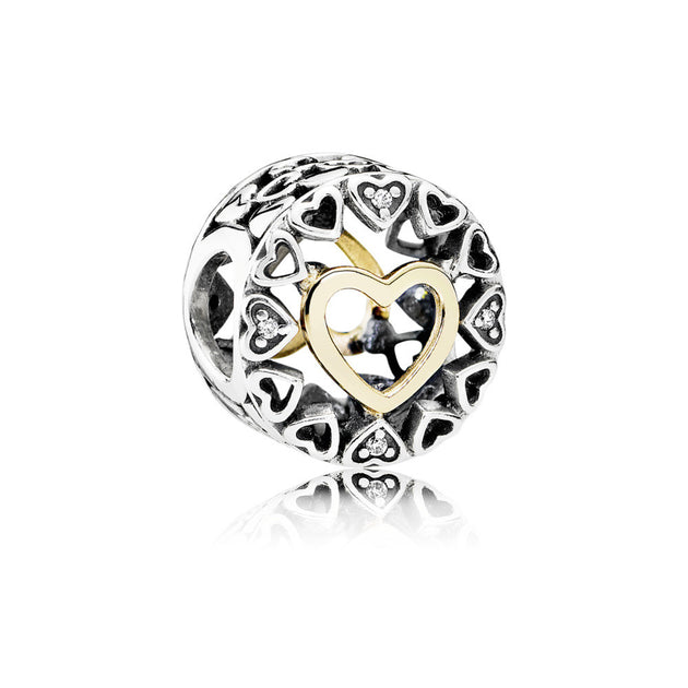 Charm Loving Circle with 14K Gold and Clear CZ
