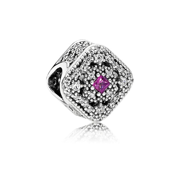 Charm Fairytale Treasure with Princess-Cut Cerise Crystal and Clear Cubic Zirconia