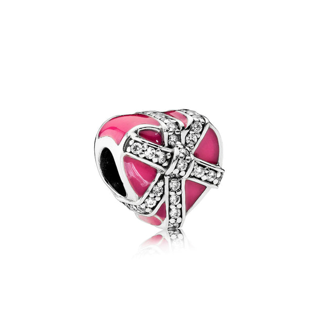 Charm Gift of Love with Magenta Enamel and Clear Cubic Zirconia