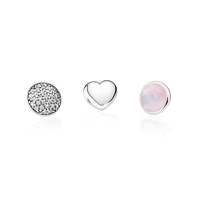 October Petites, Opalescent Pink Crystal & Clear CZ