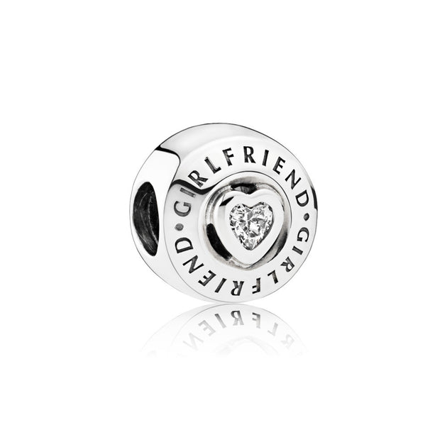 "Charm in sterling silver 2 bezel-set heart-shaped clear cubic zirconia and engravings ""Girlfriend"""