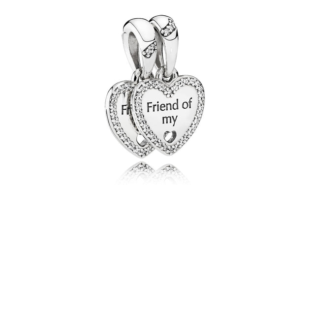 "Heart split dangle in sterling silver with clear cubic and engraving "" Friend of my heart"""