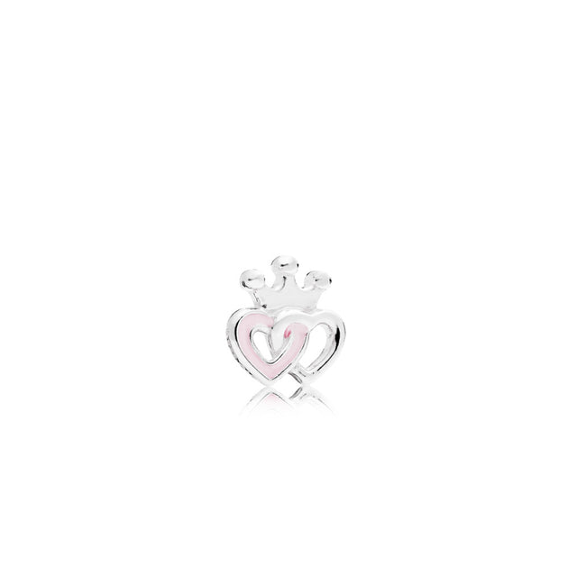 Interlocked crowned hearts petite element in sterling silver with soft pink enamel