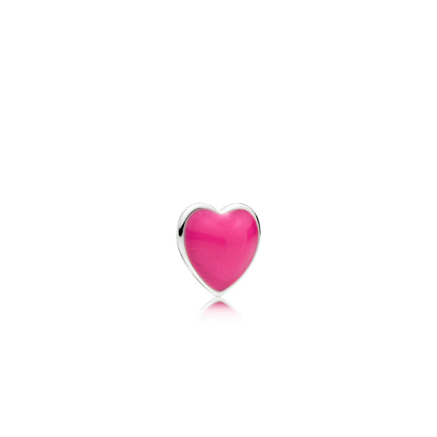 Heart petite element in sterling silver with magenta enamel