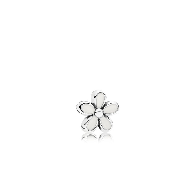 Daisy petite element in sterling silver with white enamel