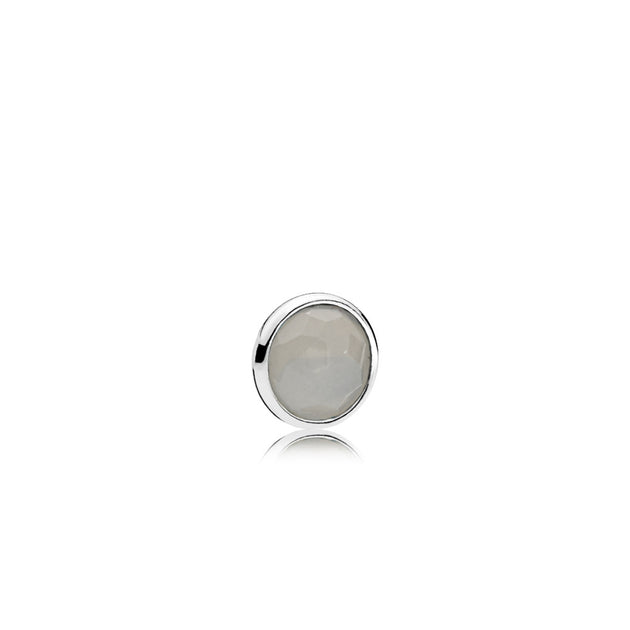 June petite element in sterling silver with 1 bezel-set flower dome-cut grey moonstone