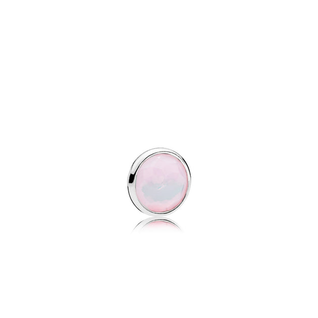 October petite element in sterling silver with 1 bezel-set flower dome-cut opalescent pink crystal