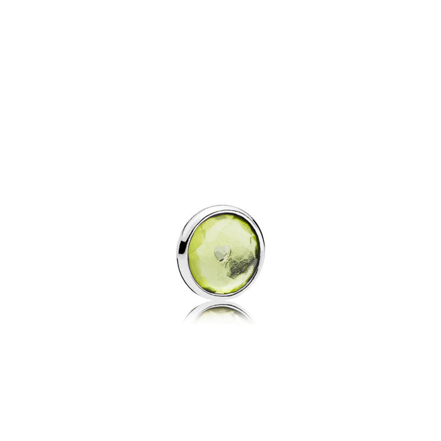 August petite element in sterling silver with 1 bezel-set flower dome-cut peridot