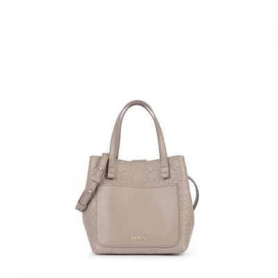 Small taupe colored Leather Mossaic Tote bag, Tous