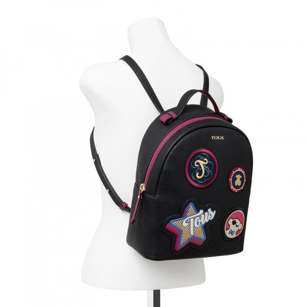 Black colored Patch Medallion Backpack, TOUS, Handbags