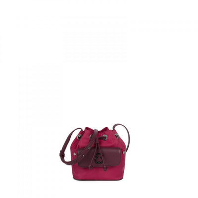 Mini burgundy colored Canvas Laine Bucket bag, Tous, Handbags
