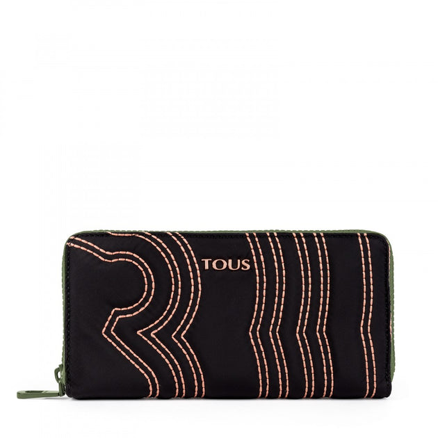 Medium black-khaki Canvas Adaz Wallet, Tous, Handbags