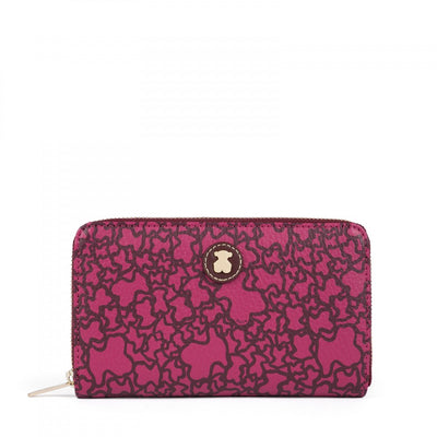 Medium burgundy colored Canvas Kaos Mini Wallet, Tous, Handbags