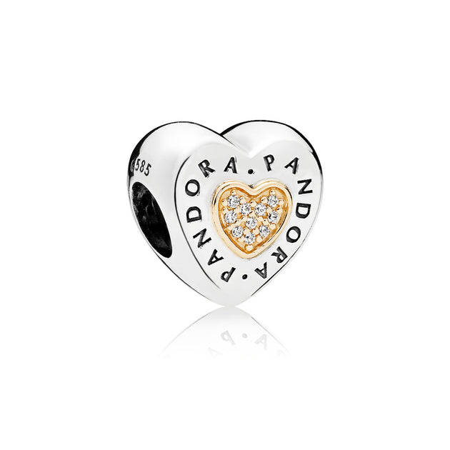 PANDORA logo heart charm in sterling silver with clear cubic zirconia in 14k gold hearts