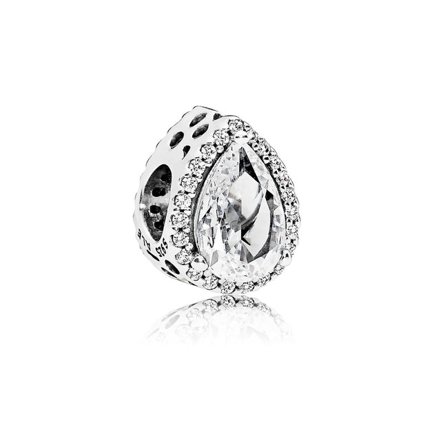 Charm in sterling silver with clear cubic zirconia clear cubic zirconia