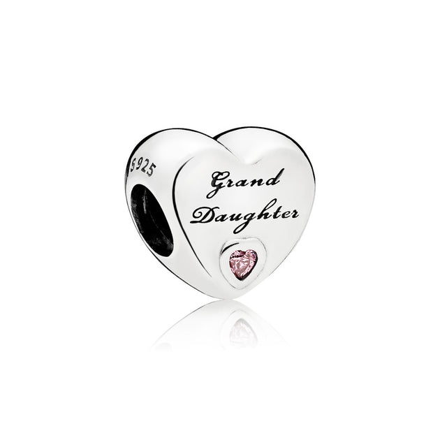 "Heart charm in sterling silver with pink cubic zirconia and engraving ""Granddaughter"""