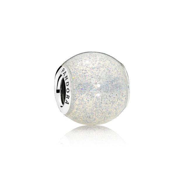 Charm in sterling silver with transparent silvery glitter enamel