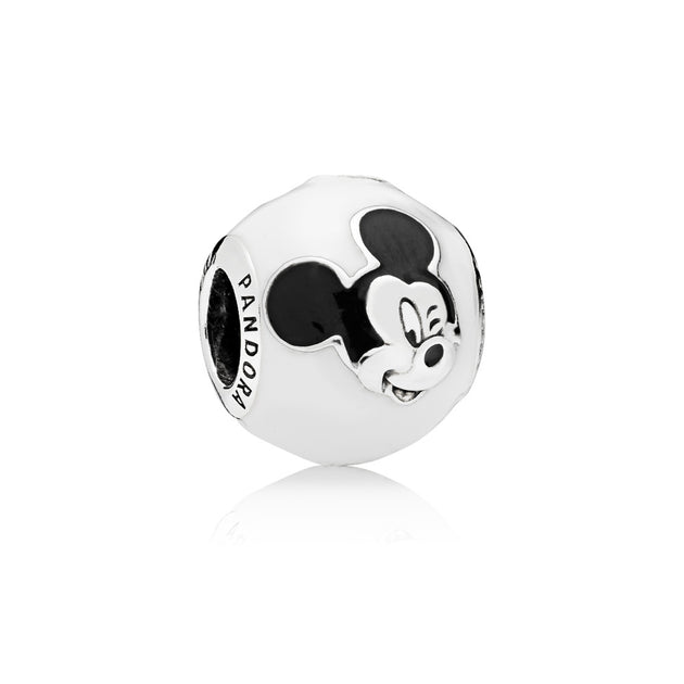 Disney Mickey charm in sterling silver with white and black enamel