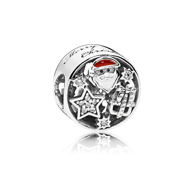 Santa, star and gift charm with clear cubic zirconia, white, berry red enamel and engraving