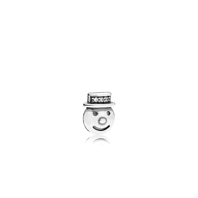Snowman petite element in sterling silver with 3 micro bead-set clear cubic zirconia