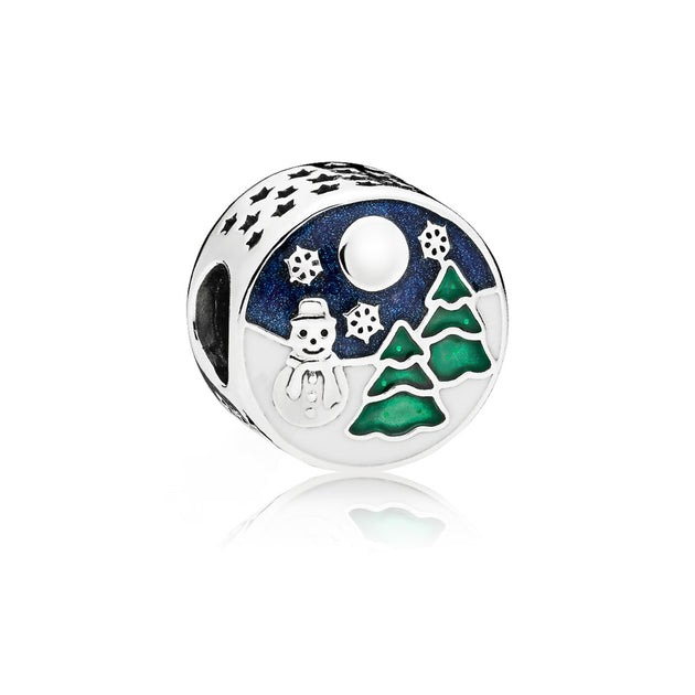 Winter scenery charm in sterling silver with white, shimmering blue and glittering green enamel