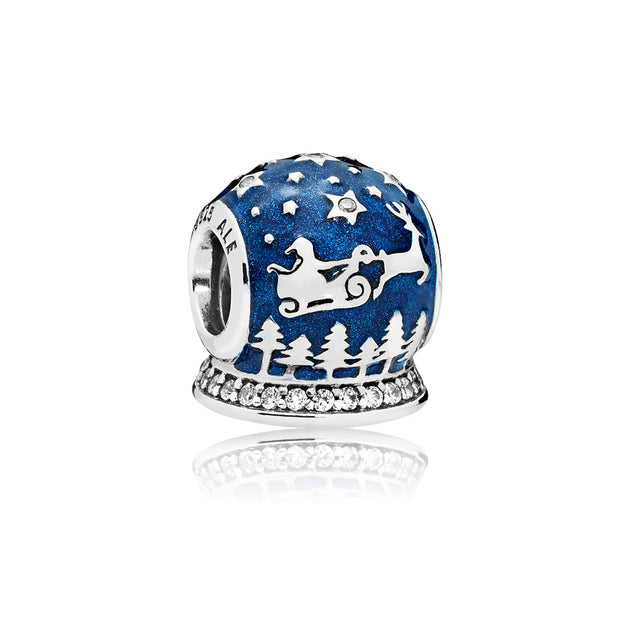 Christmas snow globe charm with clear cubic zirconia and shimmering midnight blue enamel
