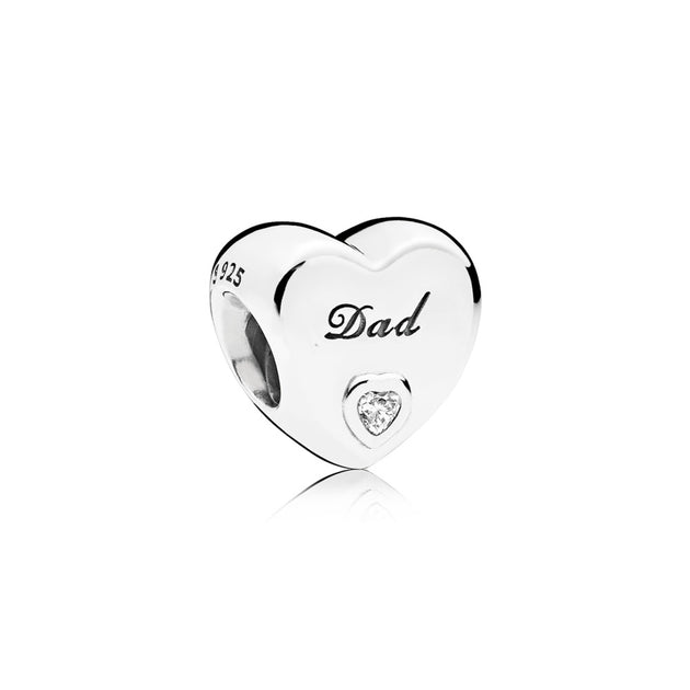 "Heart charm in sterling silver with clear cubic zirconia and engraving ""Dad?"