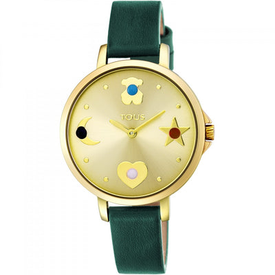 Gold IP steel Super Power Watch with green leather strap, Watches
