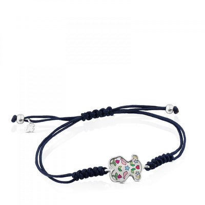 Blue Cord Motif Power Bracelet with Silver and Mother-of-pearl, Tous