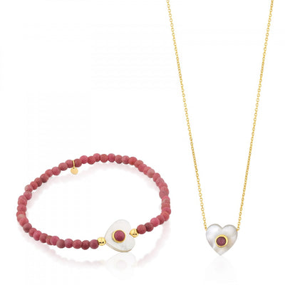 Gold Super Power Set with Rhodonites and Mother-of-pearl