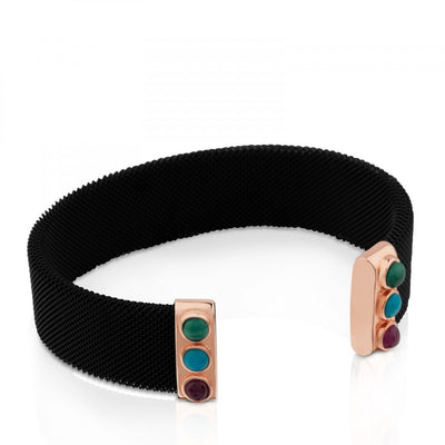 Steel and Rose Vermeil Silver Super Power Bracelet with Malachite, Turquoise and Ruby, Tous