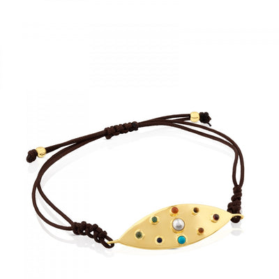 Vermeil Silver Super Power Bracelet with Cord and Gemstones, Tous