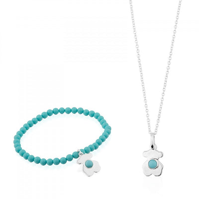 Silver Super Power Set with Turquoise and Ceramic, Tous, Pendant