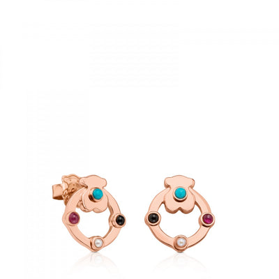 Small Rose Vermeil Silver Super Power Earrings with Gemstones, Tous