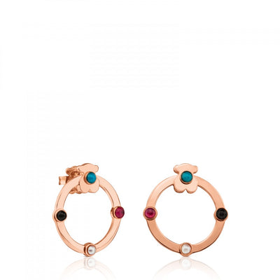 Medium Rose Vermeil Silver Super Power Earrings with Gemstones, Tous