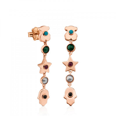 Rose Vermeil Silver Super Power Earrings with Gemstones, Tous