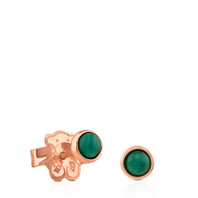 Rose Vermeil Silver Super Power Earrings with Malachite, Tous