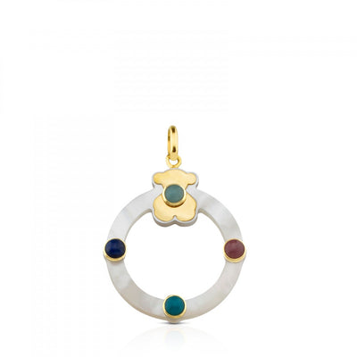 Gold Super Power Pendant with Mother-of-pearl and Gemstones, Tous