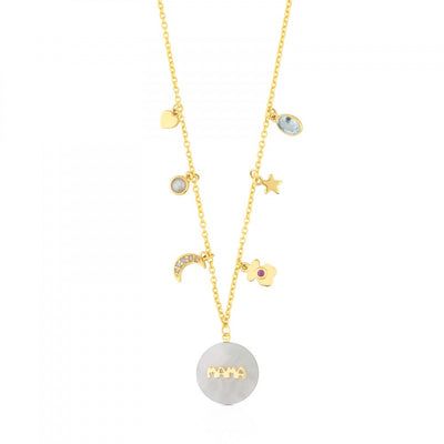 Gold TOUS Mama Power Necklace with Mother-of-pearl, Diamonds and Gemstones